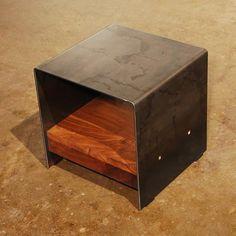 Cubic Table with Walnut Shelf