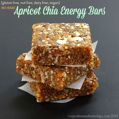 Sweet and chewy with little bits of crunch, it literally takes minutes to make these No-Bake Apricot Chia Energy Bars for a healthy snack.