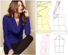 Modelagem de blusa com gola degagê, conhecida como gola boba. Fonte: https://www.facebook.com/photo.php?fbid=705859729442968&set=a.262773027084976.75978.143734568988823&type=1&theater