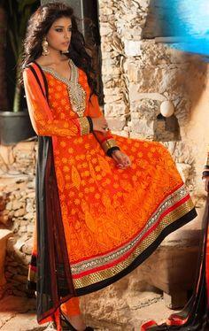 Picture of Charming Orange Indian Party Wear Salwar Kameez Online Shopping