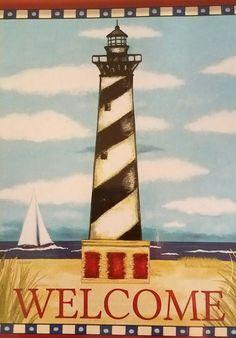 Lighthouse Welcome Summer Sailboat Nautical Ocean SailingDecorative Flag 28 x 40 | Home & Garden, Yard, Garden & Outdoor Living, Garden Décor | eBay!