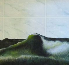"""My collage artwork. """"Experience the feeling of your natural bathroon!"""" Ma painting/bathroom wallpaper"""