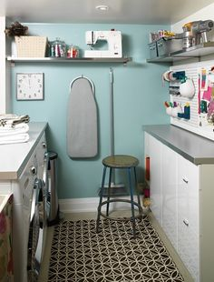 Craft Room In Laundry Room - Design photos, ideas and inspiration. Amazing gallery of interior design and decorating ideas of Craft Room In Laundry Room in dens/libraries/offices, laundry/mudrooms by elite interior designers. Laundry Craft Rooms, Blue Laundry Rooms, Basement Laundry, Laundry Room Organization, Small Laundry, Laundry Room Design, Laundry Area, Laundry Storage, Organization Ideas
