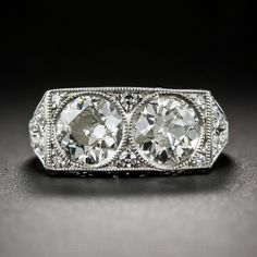 Art Deco Twin-Stone Diamond and Platinum Ring