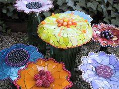 Mosaic flowers in the garden.