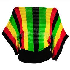 This knit top features vertical Rasta colored stripes repeating throughout the garment. The top also has an interchanging kit pattern with see-through stripes. Black knit elastic bands trim the sleeves and waist. This dolman style top is loose fitting at the top and gets tighter at the waist. Made of 92% Rayon and 8% Spandex blended fabric.