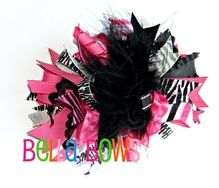 Zebra and hot pink funky loopy hair bow #hairbow #clip #fluffy