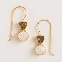 Gold and Black Diamond Double Drop Earrings | World Market