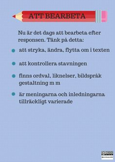 Att bearbeta Swedish Language, Teaching Materials, Creative Writing, Good To Know, Wise Words, Study, English, Lettering, Education