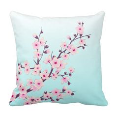 Pretty Pink Cherry Blossoms in the blue sky Throw Pillow Cushion by NinaBaydur Turquoise Throw Pillows, Floral Pillows, Hygge Home, Linen Bedding, Comforter, Queen Bedding Sets, Best Pillow, Bed Covers, Cozy House