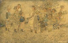 Girls in the flower garden by Annie French