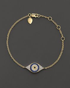 Meira T Diamond, Sapphire and 14K Yellow Gold Evil Eye Bracelet | Bloomingdales