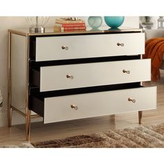 NEVADA Mirrored Copper Frame Chest of Drawers - Mirror Furniture