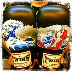 Twins Special Fancy Boxing Gloves koi carp designs