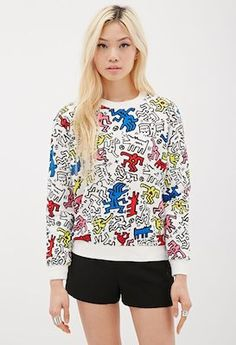 Keith Haring men's and women's sweatshirts at Forever 21 We've featured kid's clothes featuring Keith Haring designs over on Junior Hipster, but they are also available at reasonable price for adult too, Printed Sweatshirts, Women's Sweatshirts, Men's Hoodies, Keith Haring Shirt, Art Teacher Outfits, Un Book, Forever 21, Shop Forever, Couture
