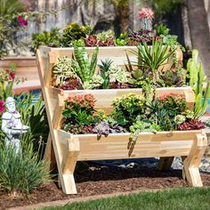 Think of it as stadium seating for your beloved plants. This cascading garden planter is crafted from rescued pieces of milled cedar making it both eco-friendly and incredibly beautiful. Plus, you can assemble it without a single tool! With its three vertical tiers, this layered planter is an eye-catching outdoor piece that displays herbs, flowers, and plants with charm.