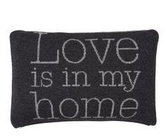 Cojín de lana Love, negro – 60x40 cm | Westwing Home & Living
