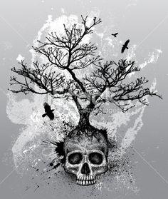 Crâne humain, Tatouage, Arbre, Corneille, Mort Illustration vectorielle libre de droits