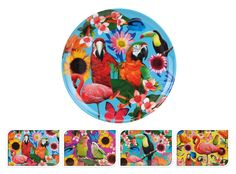 Plastic Tropical Garden Design Plastic 27.5cm Kids Dinner Picnic Party Plate (Blue): Amazon.co.uk: Kitchen & Home