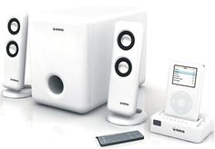Kinyo DS-122 iPod Audio Docking Station with 2.1 Speaker System. Portable iPod speaker system with 2 satellite speakers, subwoofer, and docking cradle. Compatible with any iPod, including iPod video, iPod mini, and iPod nano. Each satellite sports dual 1-inch metal micro drivers; 5-inch metal subwoofer driver. Cradle charges iPod while music plays; wireless remote for across-the-room operation. Cradle measures 3.45 x 0.79 x 2.52 inches (W x H x D); 1-year warranty.