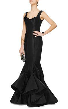 M'O Online Exclusive: Ruffled Hem Silk-Faille Gown by Zac Posen - Moda Operandi