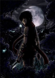 Anime Boy at night