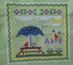 Little Houses Needlework Monthly Sampler April cross stitched Cross Stitch Ponto Cruz
