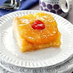 Makeover Pineapple Upside-Down Cake Recipe -Both of my boys loved this makeover version of a family favorite, and even my husband, who is a bit picky, wants a piece in his lunch tomorrow! —Mary Lou Moeller, Wooster, Ohio