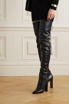Thigh High Boots, High Heel Boots, Bootie Boots, Shoe Boots, High Heels, Saint Laurent Dress, Saint Laurent Shoes, Leather Over The Knee Boots, Leather Boots