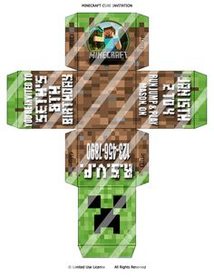 CUSTOM Printable Minecraft 3D Cube Invitation. Print As Many As You Need. One of A Kind Party Invite Card