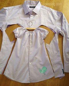 Como hacer un vestido de niña. Pues hacer algo totalmente nuevo, de algo que ya no vayáis a usar. Como un vestido de niña, de una camisa de hombre.Trate de