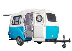 The soon-to-launch HC1 trailer from Happier Camper is built from lightweight (but durable) fiberglass; the compact interior's modular system allows you create a space all your own.  From $16,000; happiercamper.com