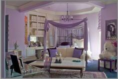 Purple Bedroom, dark bed, white bedding and decor!