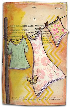 Laundry in the wind - art journal inspiration - clothes on clothes line. by 103 Journal D'art, Art Journal Pages, Art Journals, Journal Ideas, Nature Journal, Mixed Media Journal, Mixed Media Collage, Collage Art, Mix Media