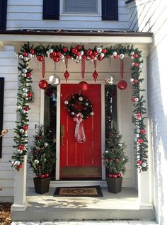 Below are the Front Porch Christmas Decoration Ideas. This post about Front Porch Christmas Decoration Ideas was posted under the … Porch Christmas Tree, Outdoor Christmas Decorations, Christmas Wreaths, Christmas Crafts, Christmas Lights Outside, Porch Xmas Lights, Decorating For Christmas Outdoors, Front Porch Ideas For Christmas, How To Decorate For Christmas