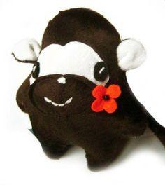 Kleiner frecher Fluse Affe mit Filz- Blume aus hochwertigem Kuschel -Plüsch,Fell-Imitat   ! Einzelstück!Unikat! Nach eigener Vorlage hergestellt! Masc