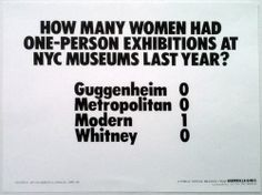 "'How many women had one-person exhibitions at NYC museums last year?""  [follow this link to find a bundle of short clips and analyses related to art in sociology: http://www.thesociologicalcinema.com/1/category/artmusic8191dab93b/1.html]"