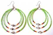 GREEN TRIPLE MEMORY WIRE EARRINGS WITH CUTGLASS BEADS