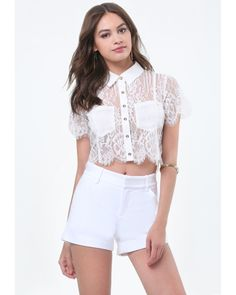 Bebe | White Carrie Lace Crop Shirt | Lyst