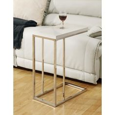 Monarch Rectangular Chrome Metal Accent Table - Glossy White - End Tables at Hayneedle Tv Tray Table, C Table, Couch Table, Sofa Side Table, Side Tables, Drink Table, Couch Sofa, Space Saving Furniture, Living Room Furniture