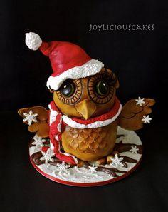 Santa Owl Cake