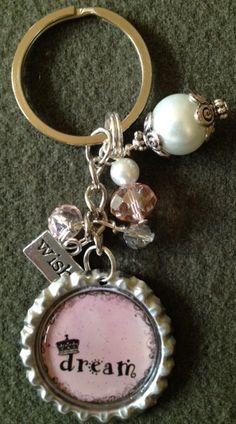 sparkly DREAM inspirational women's bottle cap key chain with full BLING & wish charm PINK. $14.00, via Etsy.