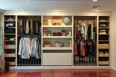 """Materials: PAX Wardrobe Description: We started with 2 wide PAX units and 2 narrow PAX units. Our ceilings are not even 80″ but our height options at IKEA were 96″ or 75″.€ We rolled the dice, bought 96"""" units. Using a chop saw we cut them down to 80″ and assembled using the instructions that [&hellip"""