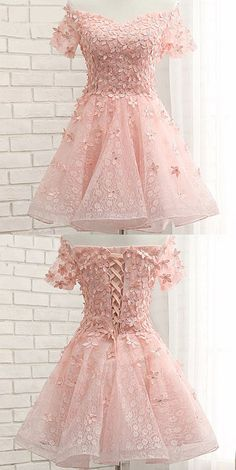 Pink Homecoming Dress With Flower,Short Sleeve Homecoming Dress,Short Prom Dress on Luulla Lace Homecoming Dresses, Hoco Dresses, Dance Dresses, Cute Dresses, Beautiful Dresses, Formal Dresses, Pink Dresses, Quinceanera Dresses Short, Homecoming Dresses Short Tight Sleeves