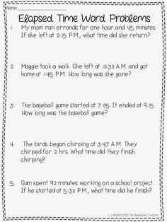 Fun with Elapsed Time and a Freebie - The Applicious Teacher