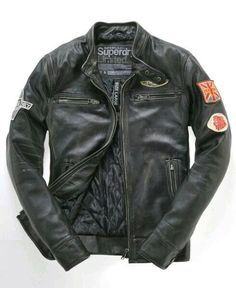 Superdry Super Scrambler Leather Jacket - The Swagger Motorcycle Style, Motorcycle Outfit, Biker Style, Motorcycle Jackets, Jacket Style, Fashion Mode, Mens Fashion, Style Masculin, Men's Wardrobe