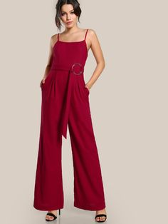 97a8cc3b29f2 Shop Self Belted Fold Pleat Cami Palazzo Jumpsuit online. SHEIN offers Self  Belted Fold Pleat Cami Palazzo Jumpsuit   more to fit your fashionable  needs.