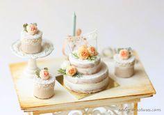 Dollhouse Cake - Peach Flower Naked Cake #miniature #dollhouse #handmade…