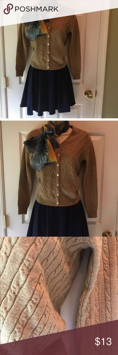 Cable knit camel colored v neck cardigan Good condition, great  neutral cardigan for any season. The tag just says P for petite, fits like a size two petite Petite Sophisticate Sweaters Cardigans