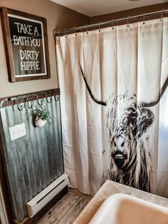 Our western bathroom! WesternBathroom BathroomSign Cow BohoBathroom Highlander DirtyHippie is part of Western bathrooms - Western Bathroom Decor, Western Bathrooms, Boho Bathroom, Bathroom Ideas, Rustic Western Decor, Western House Decor, Country Western Decor, Rustic Wood, Bathroom Organization